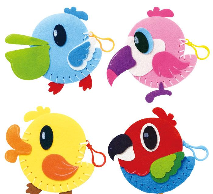 儿童不织布手工diy材料包批发 美术培训暑假班玩具大嘴鸟零钱包