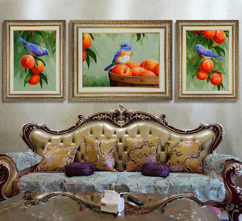 欧式沙发背景墙客厅装饰画三联挂画美式餐厅过道走廊墙画壁画