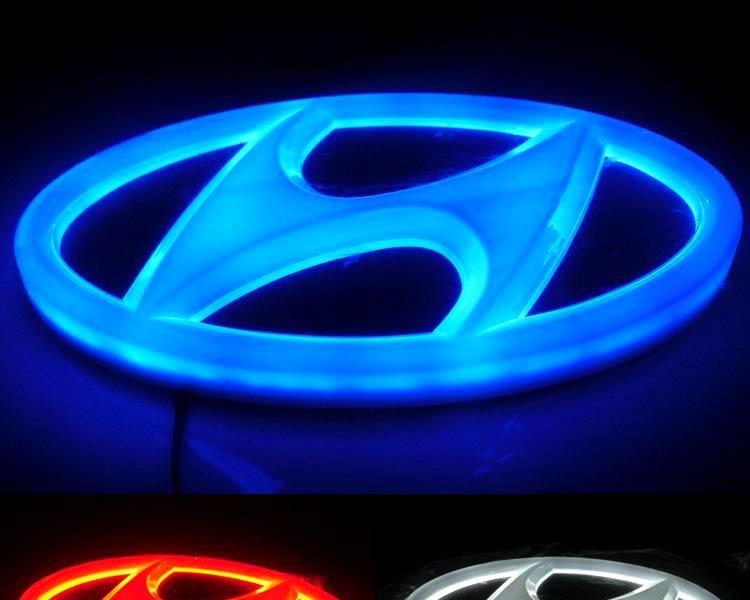 现代索纳塔改装车标灯 瑞纳 圣达菲 i30专用led灯 ix35发光车标