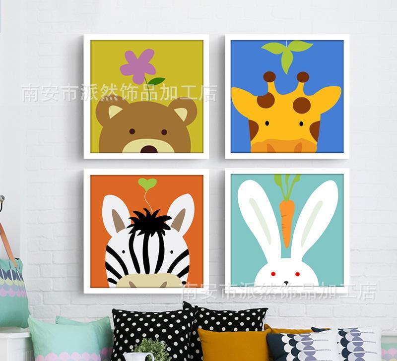 可爱儿童房环保色彩萌宠挂墙画 幼儿园卡通动物简约小清新装饰画