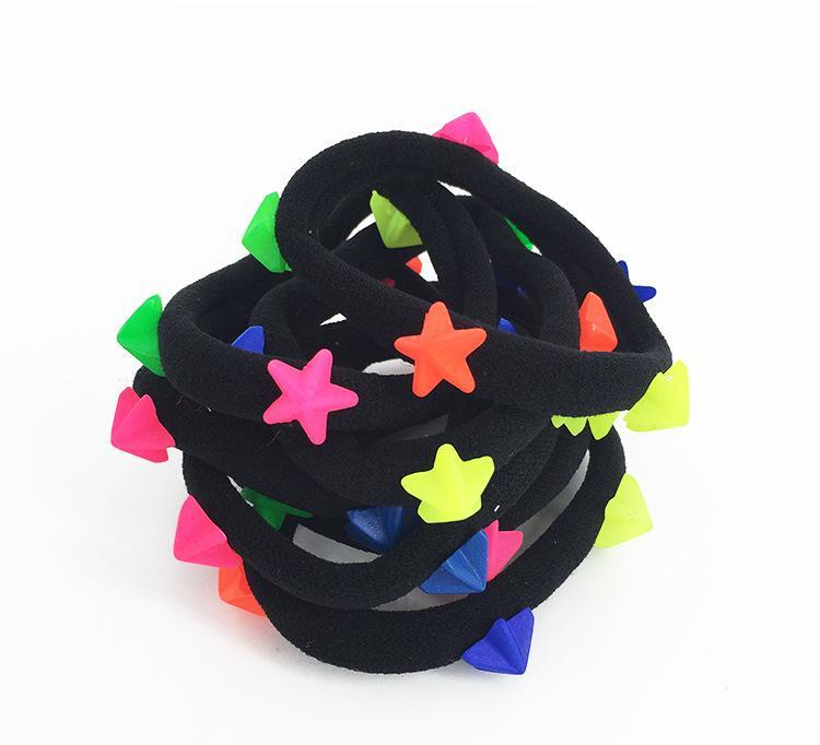 韩版时尚彩色五角星毛巾圈女生扎头发必选皮筋儿童无接缝糖果发圈图片
