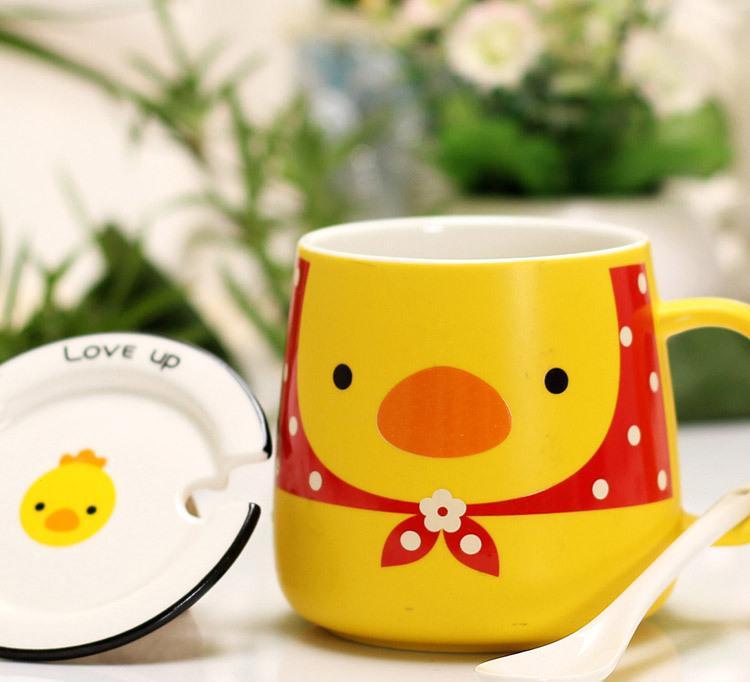 新款zakka创意动物四宝大肚杯 带盖带勺陶瓷杯子 早餐杯