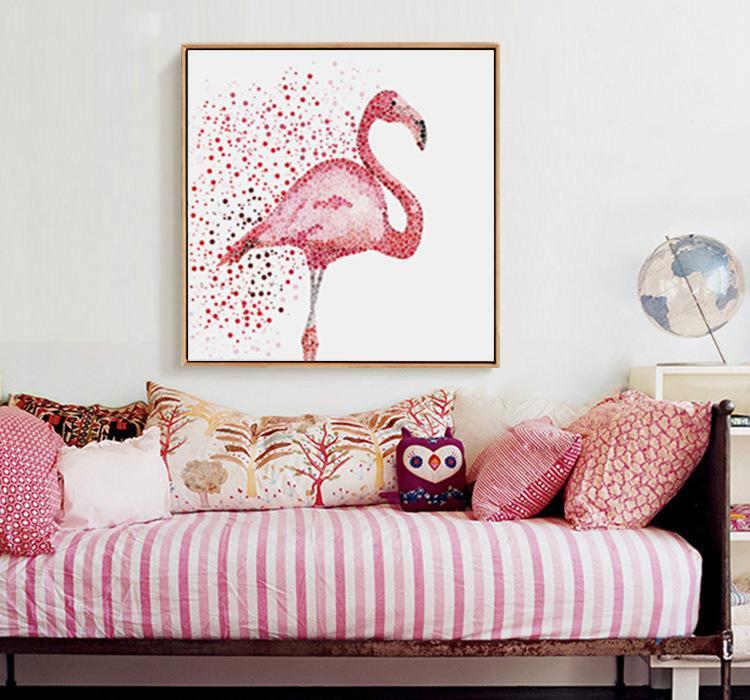 森美 装饰画火烈鸟客厅卧室现代简约北欧式挂画 软装酒店公寓配画