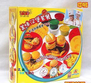 汉堡套餐 艺智宝彩泥智高橡皮泥玩具模具套装生日蛋糕雪糕店寿司