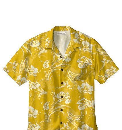 丝妮雅海南岛服 优质旅游休闲沙滩装 纯棉免烫 花衬衫 黄色