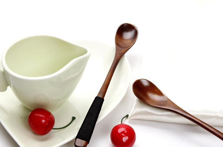 日式创意本色木勺 天然木质 搅拌咖啡勺 直柄小勺子调羹 蜂蜜勺