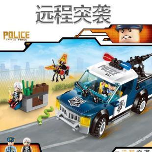 儿童益智健康套装拼搭积木玩具启蒙警察系列远程突袭积木