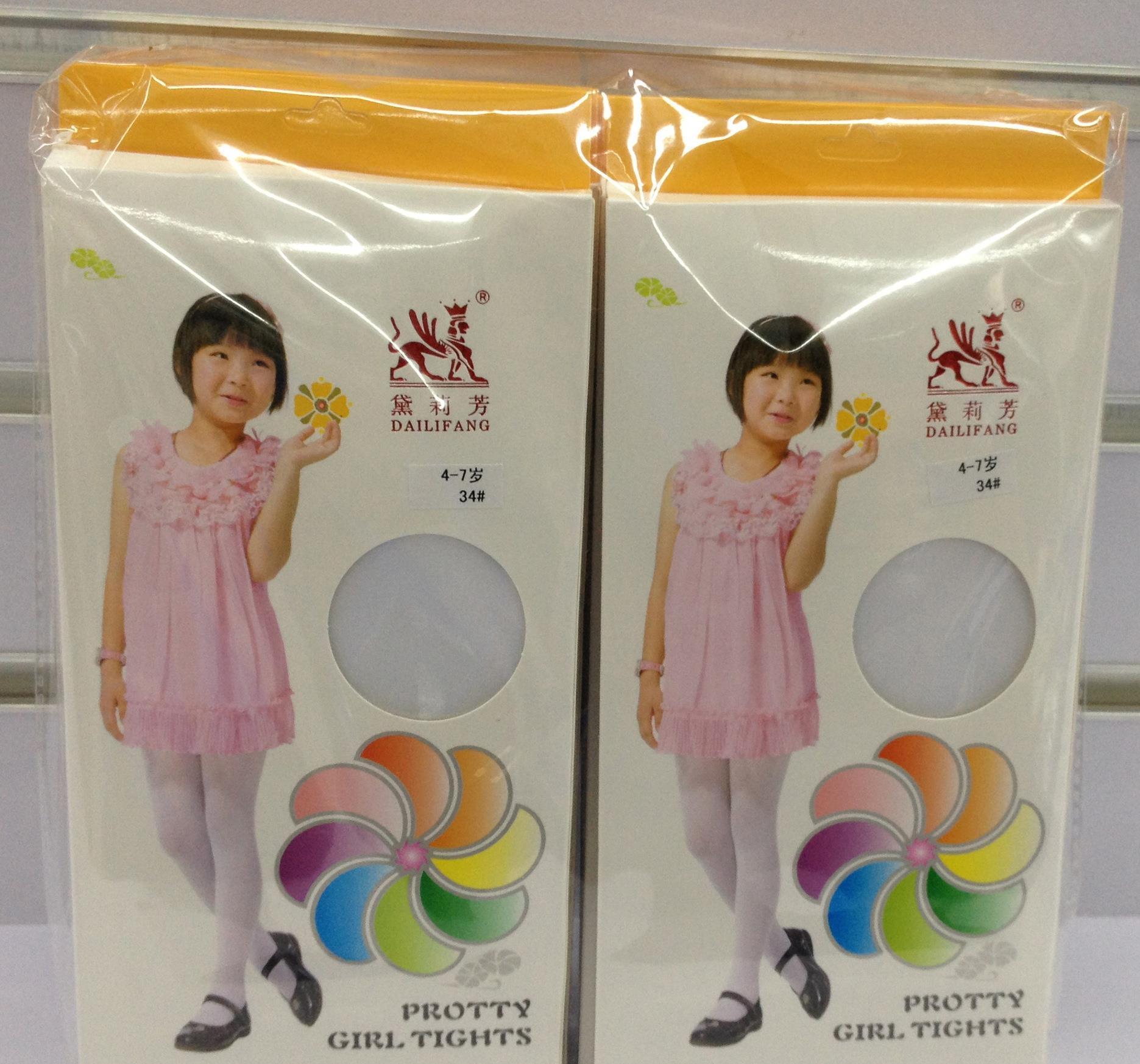 黛莉芳儿童连裤袜女幼儿园舞蹈表演打底丝袜外贸白色九分袜