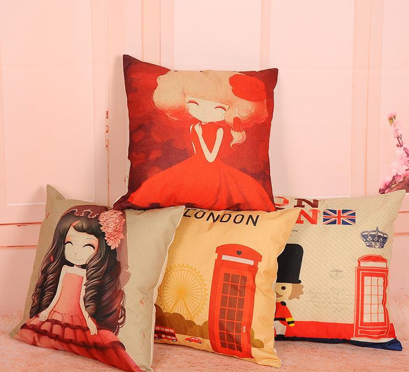 可定制田园风家居装饰沙发靠垫 优质棉麻方形风景印花抱枕靠枕