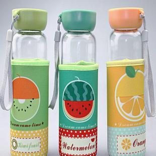 玻璃杯单层创意水果花茶杯可爱时尚女士果汁杯学生儿童水杯子