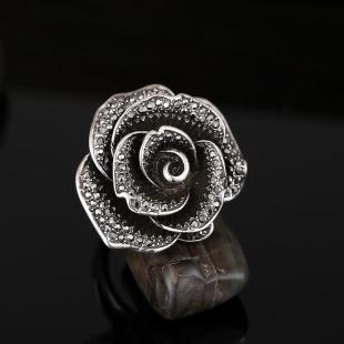 黑玫瑰水钻创意女欧美复古时尚夸张装饰食指戒指指环
