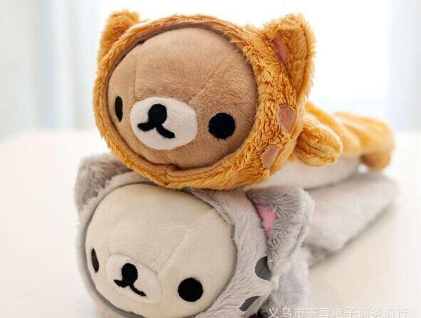 新款超萌日本san-x轻松熊 猫头笔袋 全两款 卡通文具袋 学生用