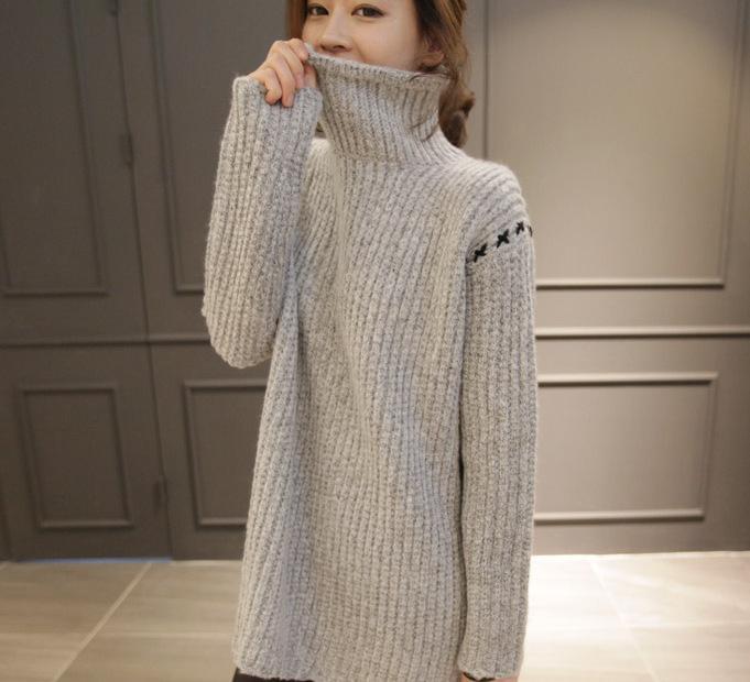 秋冬新品韩版女装高领宽松背心小马甲堆堆领前短后长打底针织毛衣